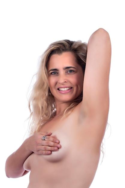 Auto cura ed esame del seno della donna per grumi o sintomi strani su un bianco. Foto Premium
