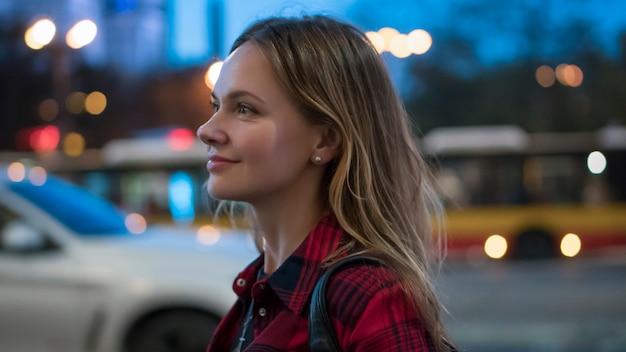 La donna in città Foto Premium