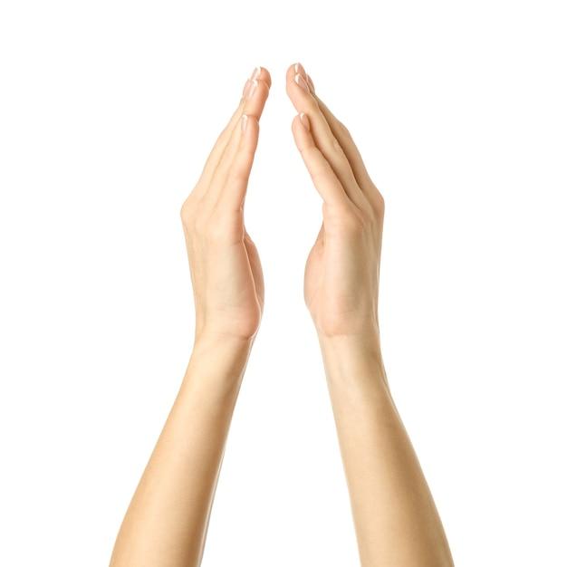Donna che tiene o misura le mani Foto Premium