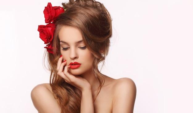 Donna con rosses Foto Premium