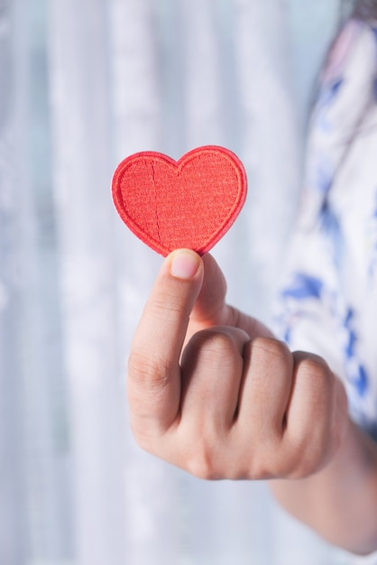 Le donne che tengono il cuore rosso nelle mani si chiudono Foto Premium