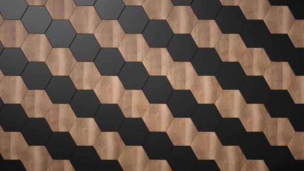Esagoni in legno e ceramica nera. modello diagonale senza soluzione di continuità. Foto Premium