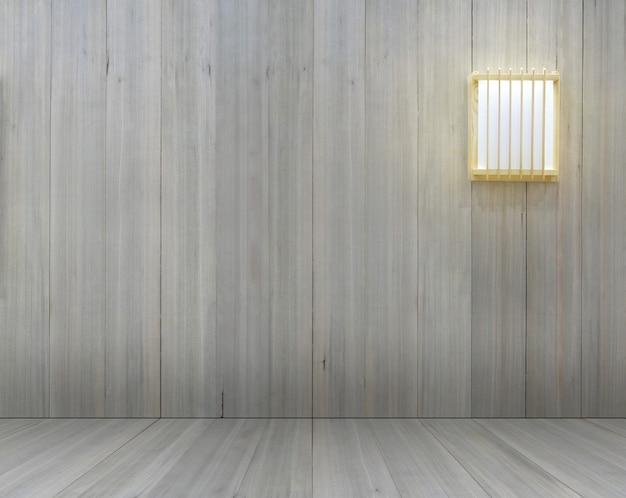 Parete in legno con lampada mockup in stile giapponese per la decorazione di interni Foto Premium