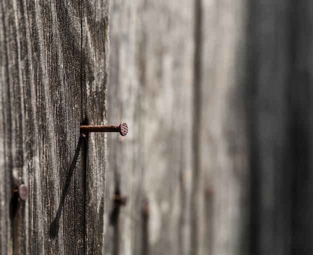Tavola di legno con un chiodo arrugginito Foto Premium