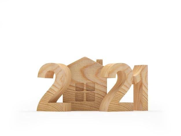 Numero 2021 in legno con icona della casa Foto Premium