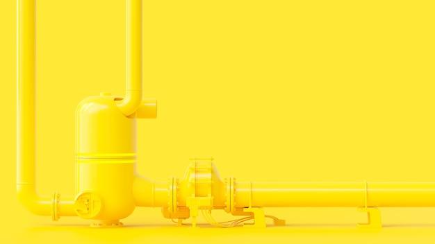 Gasdotto giallo, concetto minimo ed energetico. rendering 3d. Foto Premium