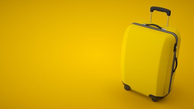 Borsa da viaggio gialla isolata sulla parete luminosa. copia spazio. rendering 3d Foto Premium