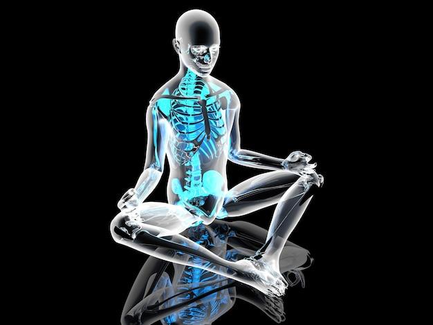 Una posa di meditazione yoga. illustrazione 3d. Foto Premium