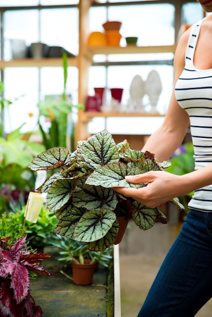 Una giovane donna adulta che lavora in un negozio di giardinaggio e che trasporta fiori Foto Premium