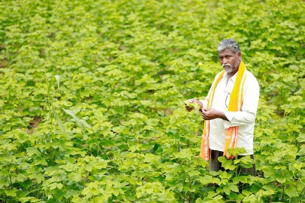 Giovane agricoltore indiano al campo di cotone Foto Premium