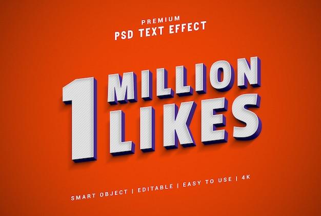 1 milione di like generatore di effetti di testo premium psd Psd Premium