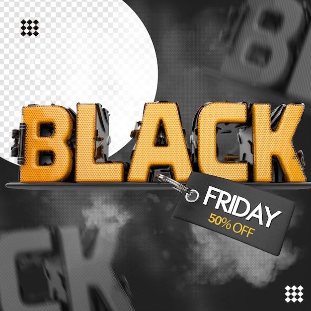 Logo 3d black friday con tag base di testo Psd Premium
