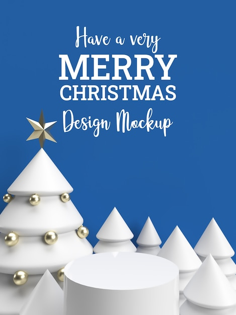 Mockup di carta di festa dell'invito di celebrazione di natale di inverno blu 3d Psd Premium