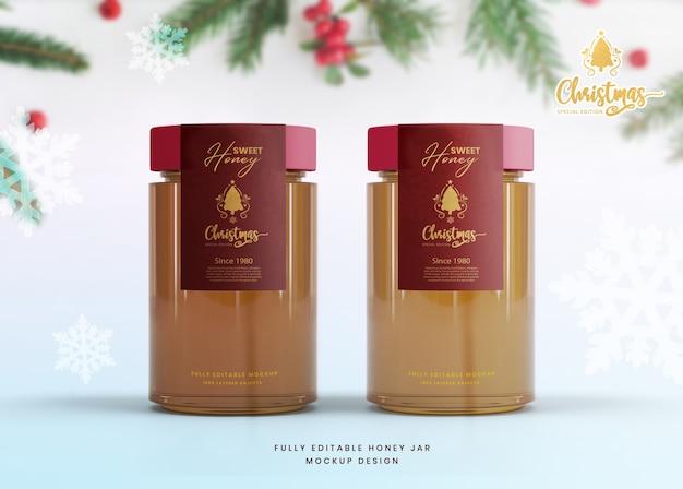Elegante mockup 3d per barattolo di miele in vetro edizione speciale di natale Psd Premium