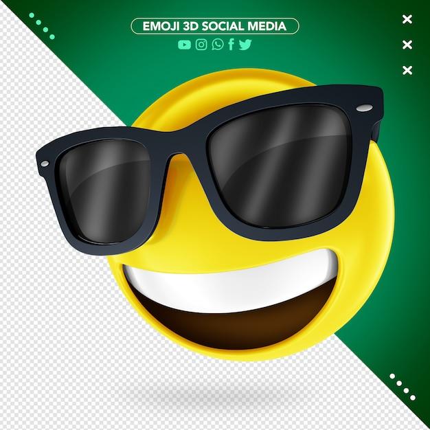 Emoji 3d con occhiali e un sorriso allegro Psd Premium