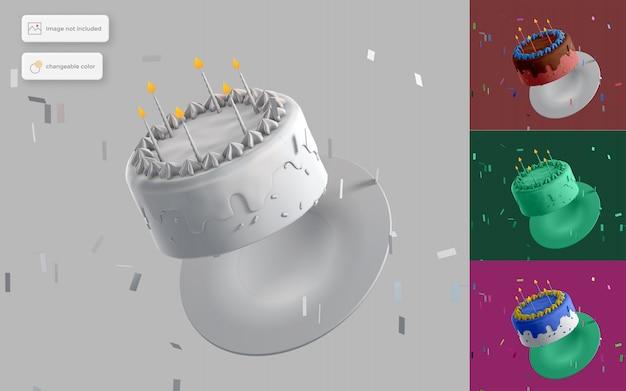 Torta di compleanno volante 3d Psd Premium