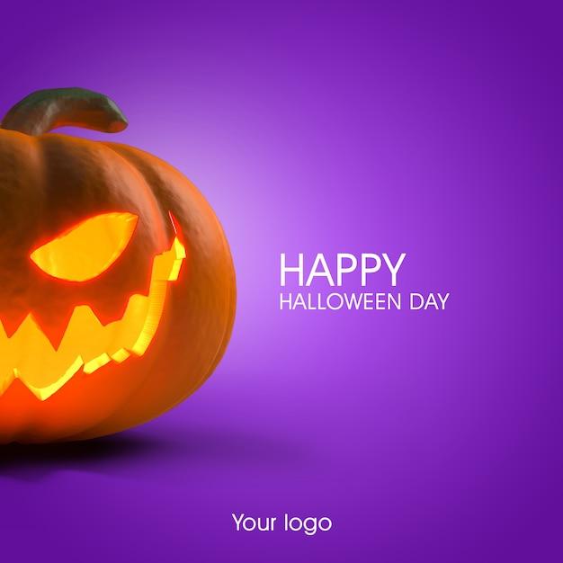 Mockup di poster di halloween 3d Psd Premium