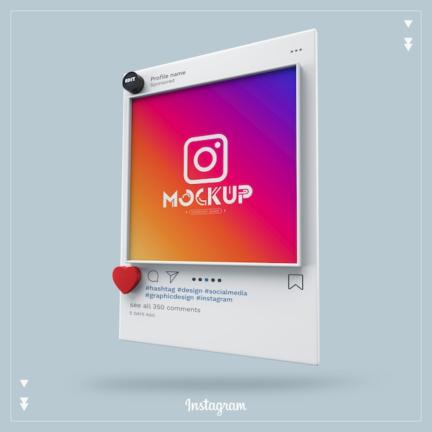 Mockup di social media instagram 3d Psd Premium