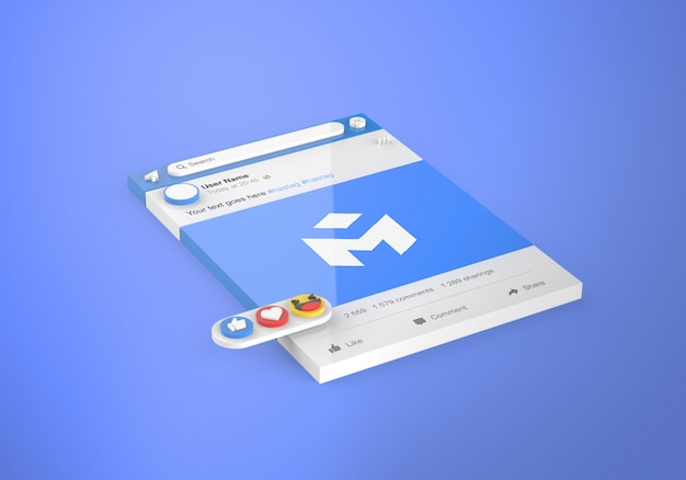 3d interfaccia social media facebook mockup Psd Premium