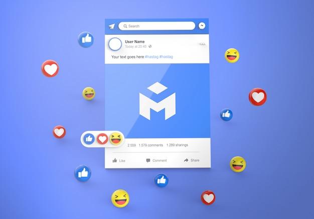 Interfaccia 3d social media facebook con reazioni emoji mockup Psd Premium