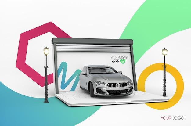 Mockup di garage per laptop 3d Psd Premium