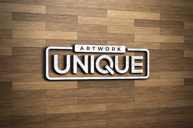 Mockup logo 3d sulla parete in legno marrone chiaro Psd Premium
