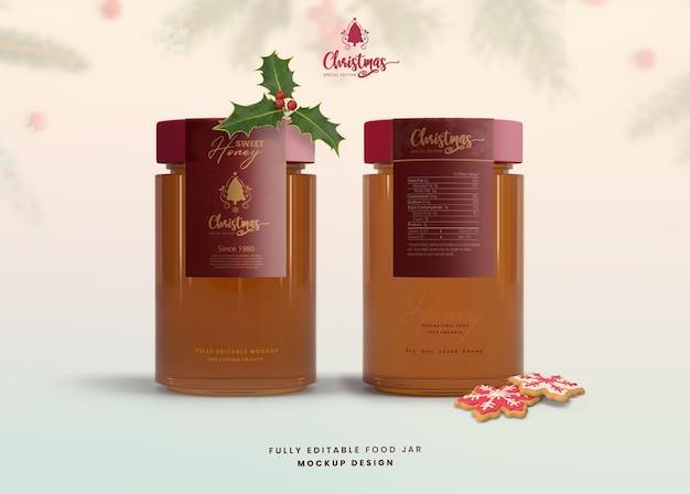 Mockup 3d per marmellata di vasetti di miele in vetro edizione speciale di natale Psd Premium
