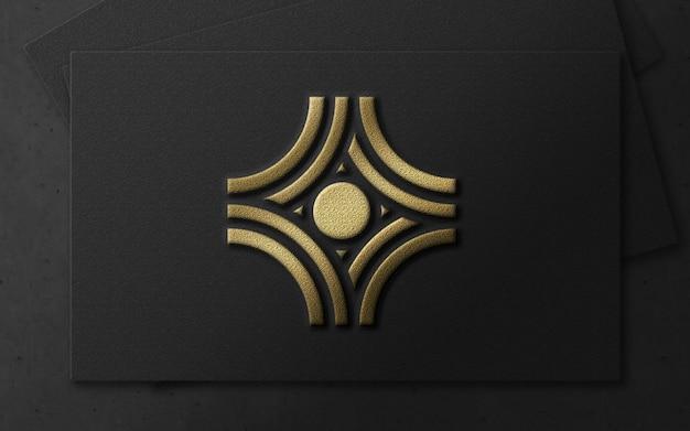 Logo di lusso moderno della stagnola di oro 3d sul modello della carta Psd Premium