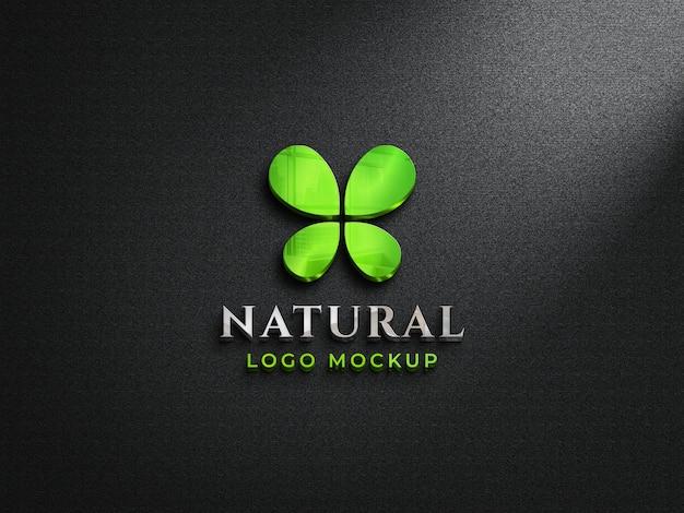 Logo in vetro riflettente 3d mockup su parete scura logo colorato 3d mockup Psd Premium