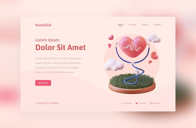 3d rendono il concetto di amore medico modello Psd Premium