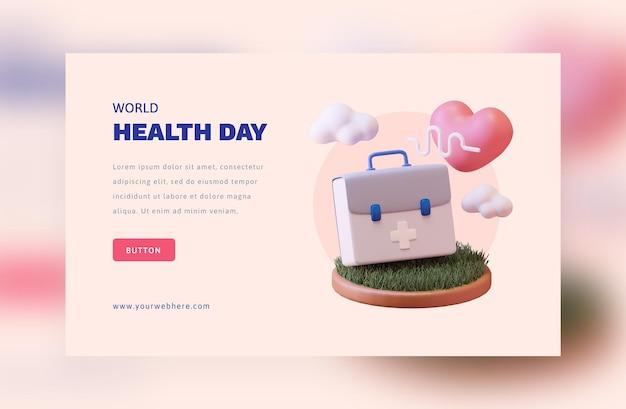 Concetto di rendering 3d della giornata mondiale della salute Psd Premium
