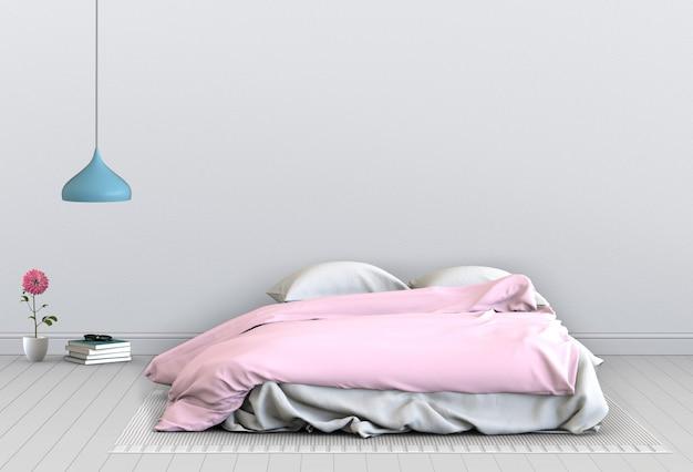 3d rendono della camera da letto interna con le decorazioni. Psd Premium