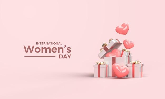 Rendering 3d festa della donna con illustrazione di scatole regalo e palloncini rosa amore Psd Premium