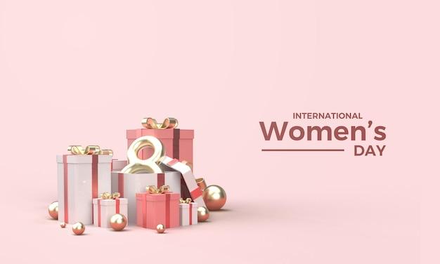 Rendering 3d festa della donna con un'illustrazione degli otto d'oro in una confezione regalo Psd Premium