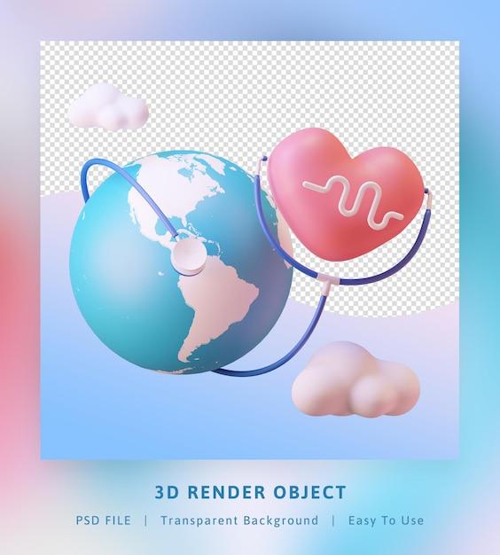 Rendering 3d giornata mondiale della salute con pianeta, amore e stetoscopio Psd Premium