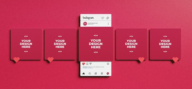 Interfaccia instagram resa 3d per mockup di post sui social media Psd Premium