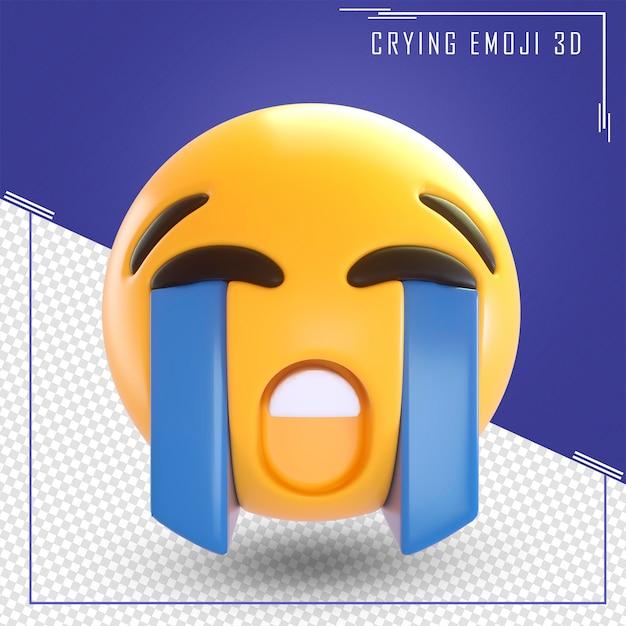 Rendering 3d di pianto emoji isolato Psd Premium