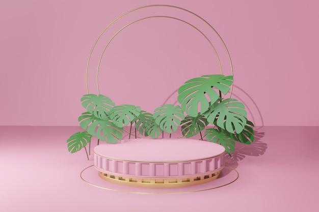 Rendering 3d podio vuoto con foglie tropicali Psd Premium