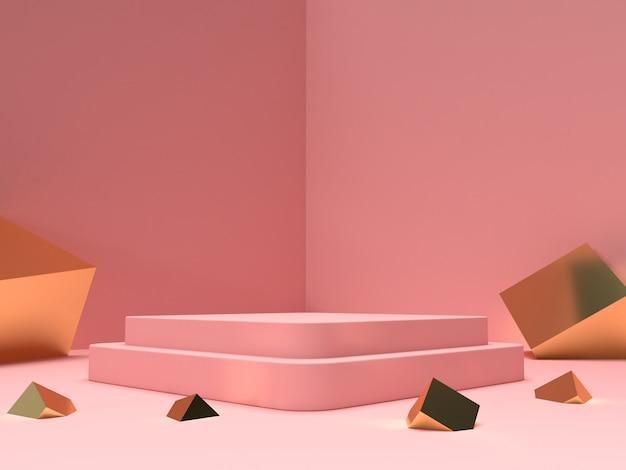 3d che rendono il pastello rosa e il prodotto dell'oro stanno su fondo Psd Premium