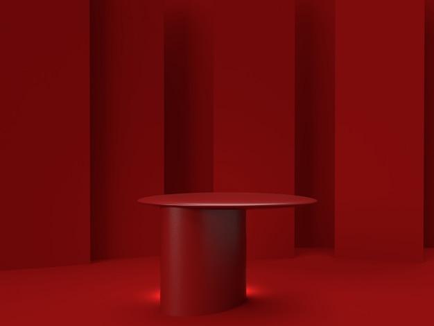 3d che rende il supporto rosso del prodotto su fondo. Psd Premium