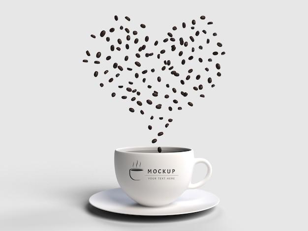Modello dei semi del caffè di scatter della rappresentazione 3d isolato Psd Premium