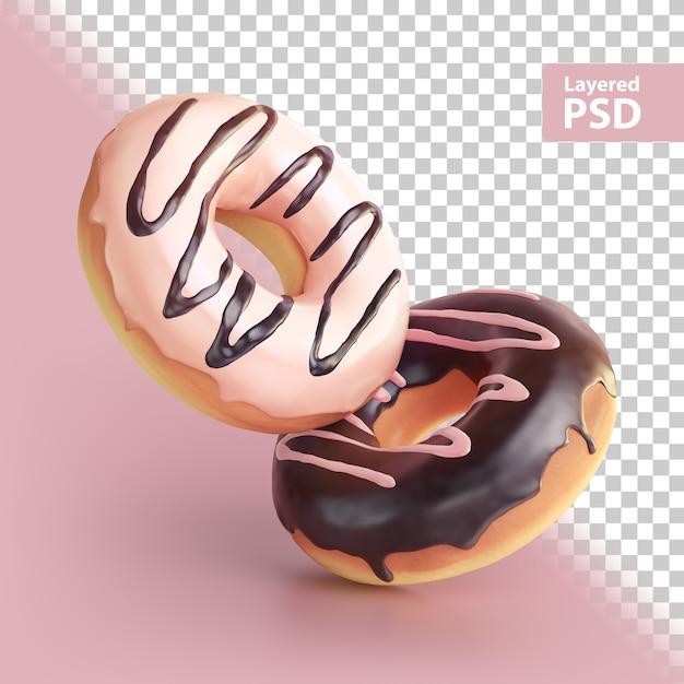 Rendering 3d di due ciambelle dolci Psd Premium