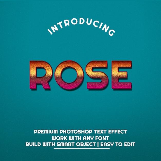 Effetto 3d rose text premium psd Psd Premium
