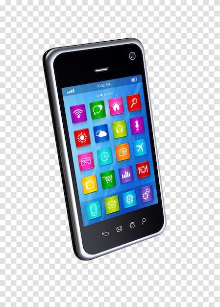 Smartphone 3d con app di icone Psd Premium