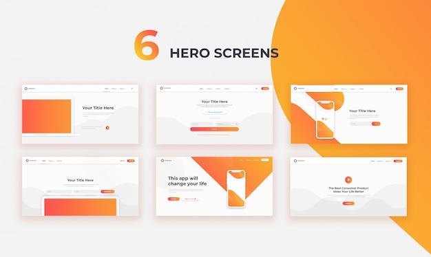 6 schermate web di ui hero Psd Premium