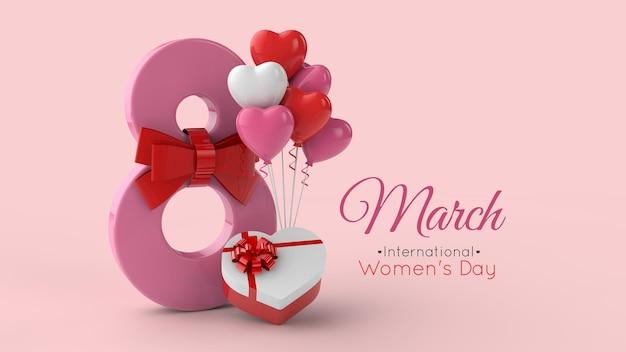 8 marzo giornata internazionale della donna modello di rendering 3d Psd Premium