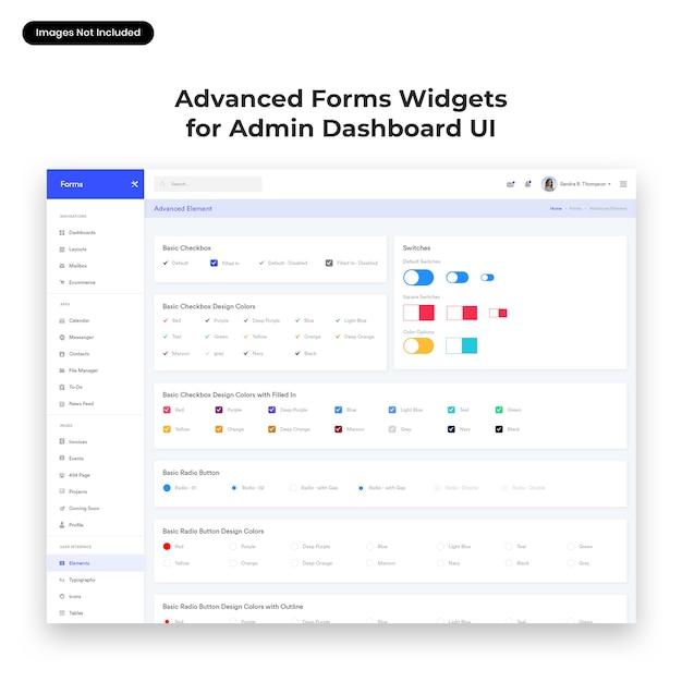 Interfaccia utente di widget modulo avanzato per admin dashboard Psd Premium