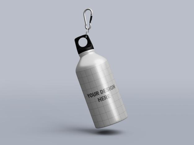 Bottiglia di acqua in alluminio mockup isolato Psd Premium
