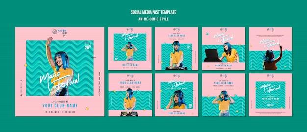 Modello di post sui social media in stile fumetto anime Psd Premium