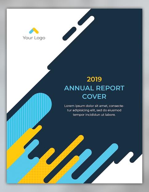 Progetto di copertina del rapporto annuale con forme arrotondate Psd Premium